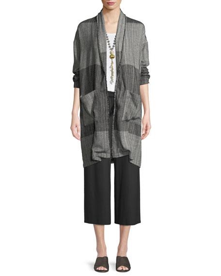 Organic Cotton Striped Long Cardigan Jacket