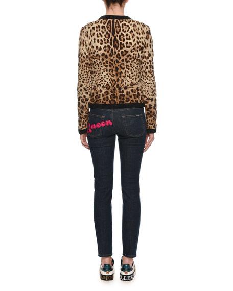 Zip-Front Leopard-Print Quilted Silk Jacket