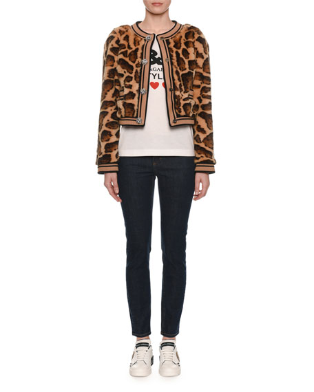 Faux-Fur Leopard Cropped Chubby Jacket