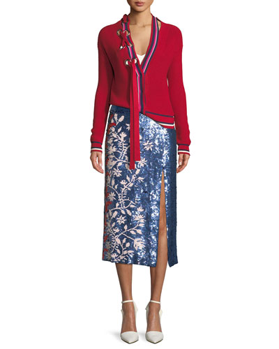 Greta Lace-Up Striped Knit Cardigan  and Matching Items