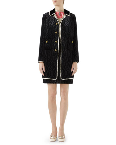 Woven Moire Velvet Coat w/ Pearly Trim  and Matching Items