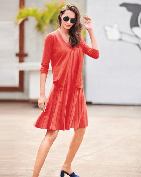 4-Way Linen-Blend Knit Cardigan Sweater, Plus Size