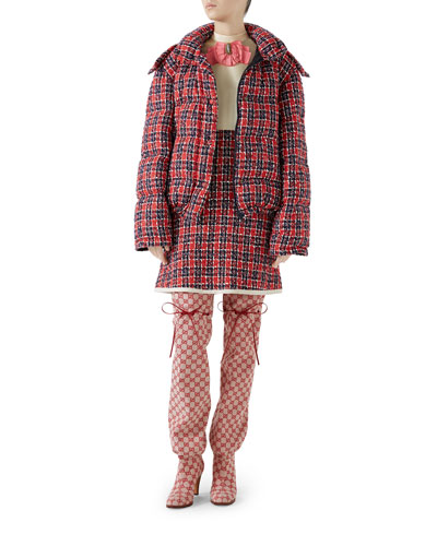 Tweed Hooded Puffer Jacket  and Matching Items
