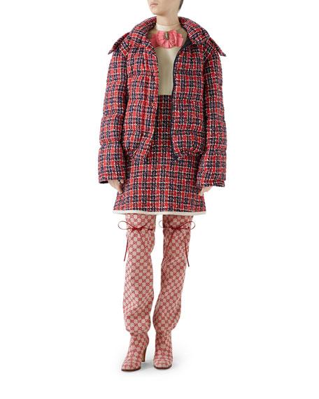 Tweed Hooded Puffer Jacket