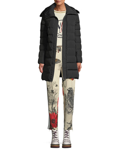 Lionette Long Puffer Coat w/ Fur Trim and Matching Items