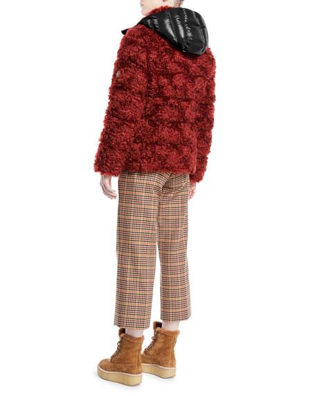 Badyp Mohair-Blend Puffer Jacket w/ Contrast Hood