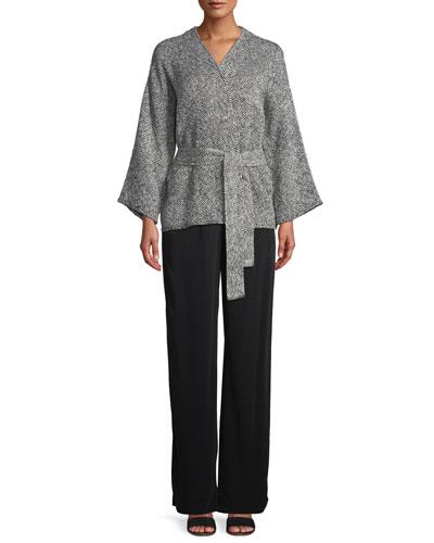 Bracelet-Sleeve Cotton Kimono Short Jacket, Plus Size and Matching Items