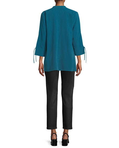 Petite Fuji Silk 3/4-Sleeve Blouse
