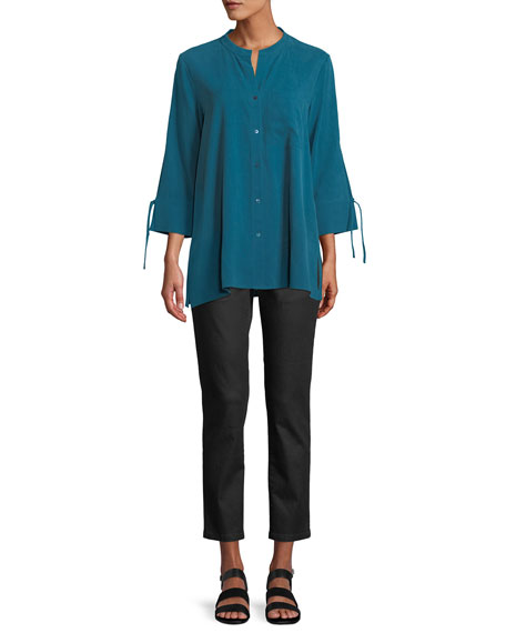 Plus Size Fuji Silk 3/4-Sleeve Blouse