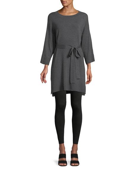 3/4-Sleeve Cozy Stretch Tencel Tunic w/ Belt, Plus Size