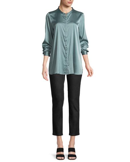 Silk Charmeuse Mandarin-Collar Shirt, Plus Size