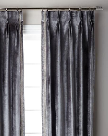 "Graphite Pave 3-Fold Pinch Pleat Curtain Panel, 96"""