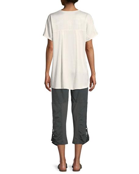 Milani Dual Satin V-Neck T-Shirt Top, Plus Size