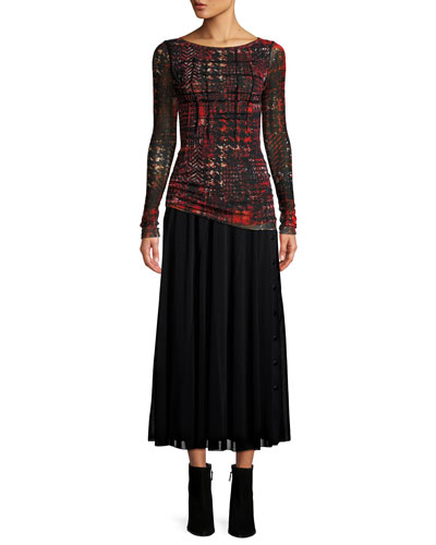 Plaid Tulle Long-Sleeve Top w/ Velvet Embroidery  and Matching Items
