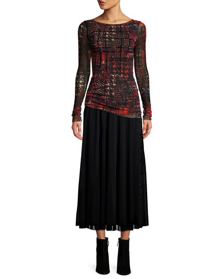 Plaid Tulle Long-Sleeve Top w/ Velvet Embroidery