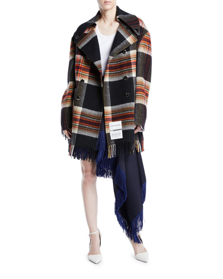 CALVIN KLEIN 205W39NYC Double-Breasted Boxy Plaid Wool Jacket w/ Fringe Trim