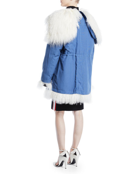 Drawstring-Waist Cape-Hood Canvas Shearling Reversible Coat