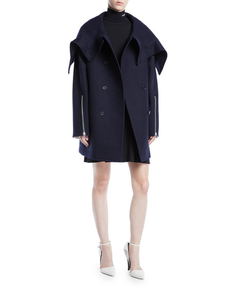 Double-Breasted Wool Cape Jacket w/ Zipper Detail