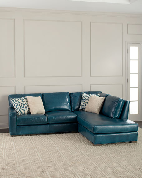 """Shariah Leather Right-Chaise Sectional 102"""""""