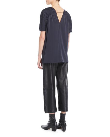 Shirred Short-Sleeve V-Neck Top