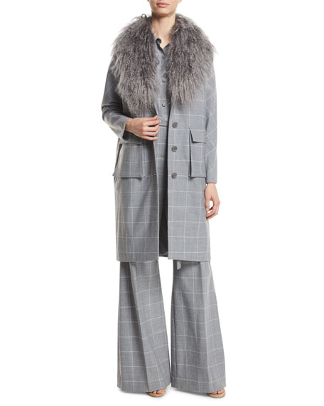 Button-Front Check Wool Coat with Mongolian Fur Collar