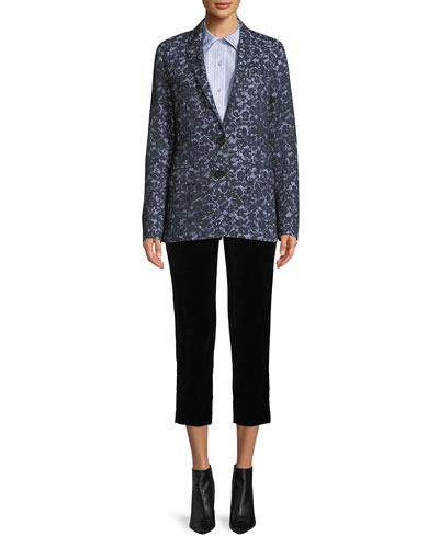 Audrey Side-Zip Straight-Leg Velvet Cropped Pants and Matching Items