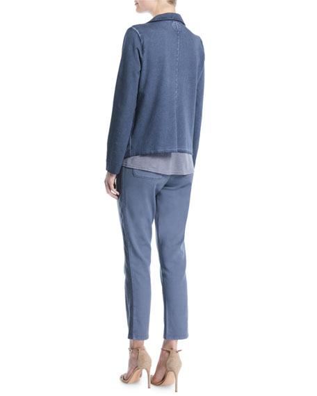 Terry Open-Front Garment-Dye Blazer, Petite