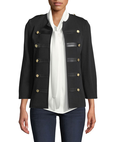 Epaulette Knit Jacket with Faux-Leather Trim and Matching Items