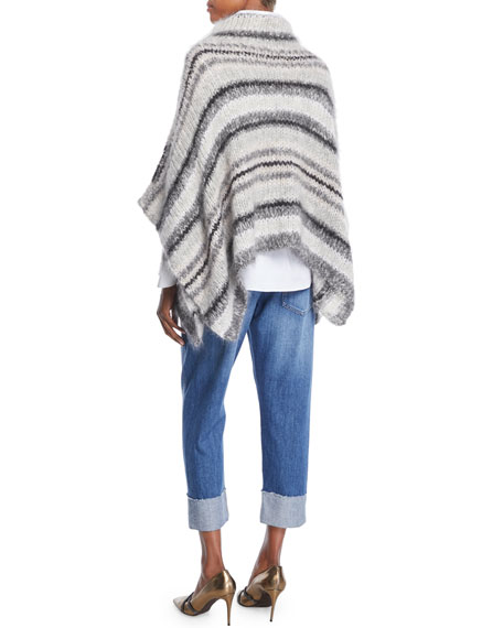 Turtleneck Striped Mohair-Wool Poncho