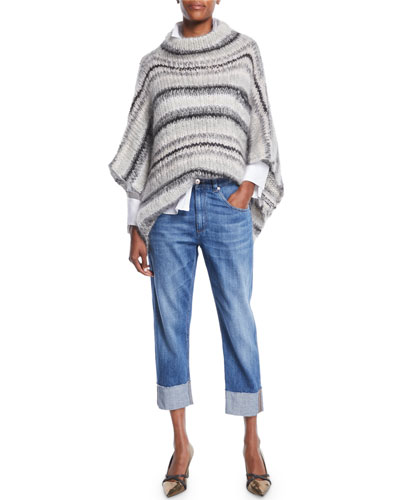 Turtleneck Striped Mohair-Wool Poncho  and Matching Items
