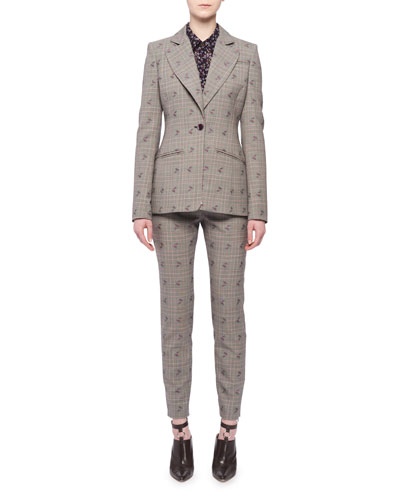 Single-Breasted Floral-Embroidered Prince of Wales Check Blazer and Matching Items