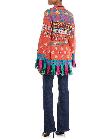 Western-Intarsia Belted Wool-Blend Sweater w/ Fringe