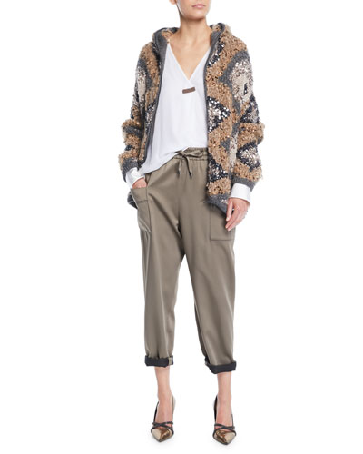 Zip-Front Folklore Hand-Knit Intarsia Jacket w/ Macro Paillettes and Matching Items