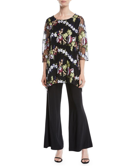 3/4-Sleeve Floral-Embroidered Mesh Lined Tunic, Plus Size