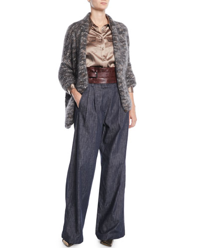 Mohair-Cashmere Tweed Cross-Front Cardigan  and Matching Items