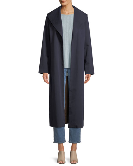 Wide-Collar Twill Belted Long Coat, Plus Size