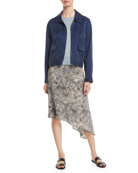 Zip-Front Linen-Silk Satin Utility Jacket