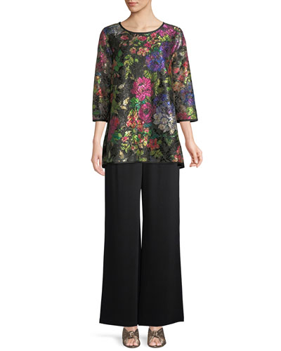 Midnight Garden 3/4-Sleeve Shimmer Floral-Print Lace Tunic w/ Tank Liner and Matching Items