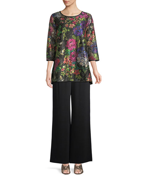 Midnight Garden 3/4-Sleeve Shimmer Floral-Print Lace Tunic w/ Tank Liner, Petite
