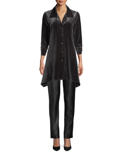 Button-Front Long-Sleeve Stretch-Velvet Side-Fall Shirt and Matching Items