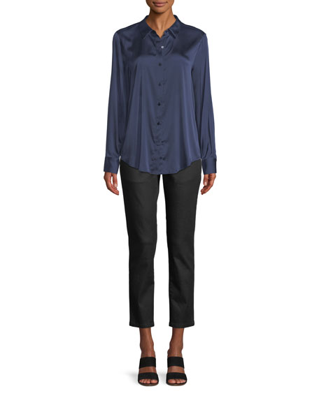 Long-Sleeve Silk Charmeuse Button-Front Shirt