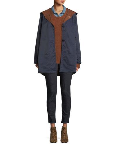 Reversible Organic Cotton/Nylon Hooded Raincoat, Petite and Matching Items