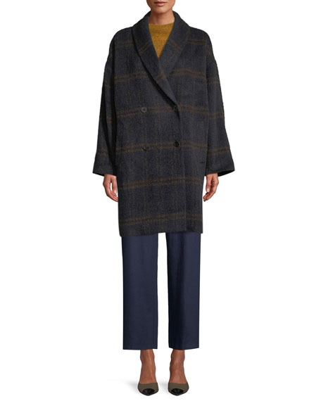 Windowpane Luxe Alpaca/Wool Car Coat