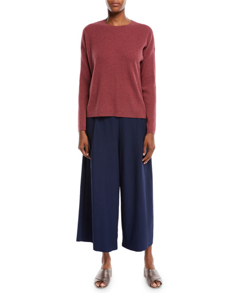 Ribbed Long-Sleeve Cashmere Sweater, Plus Size