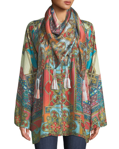 Afterglow Button-Front Silk Tunic  and Matching Items