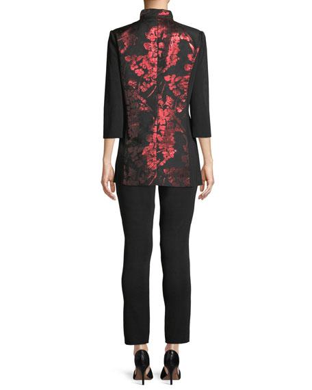 Metallic Floral-Inset Jacket, Plus Size
