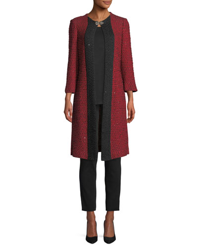 3/4-Sleeve Sparkle-Knit Long Jacket  and Matching Items