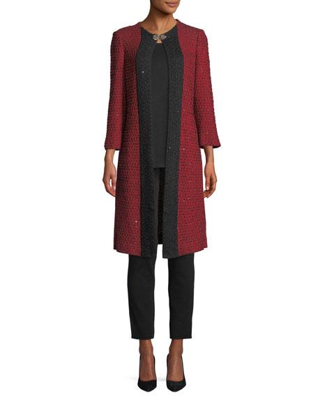 3/4-Sleeve Sparkle-Knit Long Jacket, Plus Size