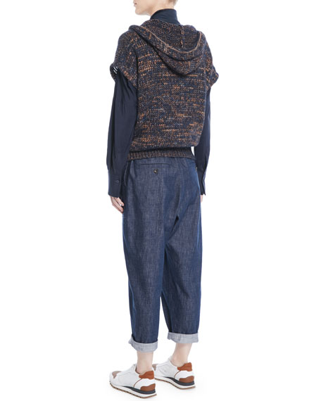 Hooded Short-Sleeve Mohair-Blend Crossover Top