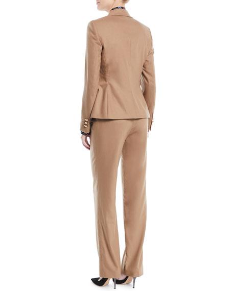 Peak-Lapel One-Button Flannel Wool-Blend Jacket